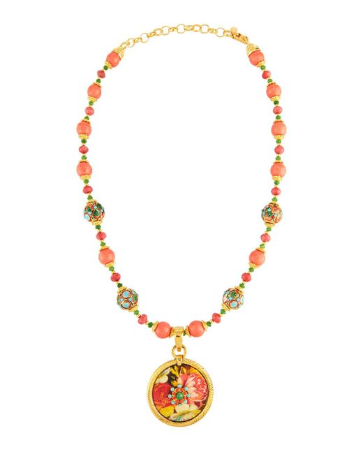 Jose & Maria Barrera | Metallic Cloisonné Beaded Necklace W/ Floral Découpage Pendant | Lyst
