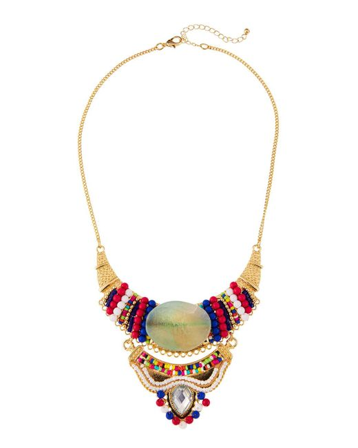 Fragments | Multicolor Beaded Statement Bib Necklace | Lyst