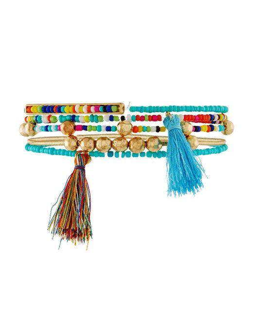 Fragments | Blue Beaded Tasseled Stretch Bracelets | Lyst