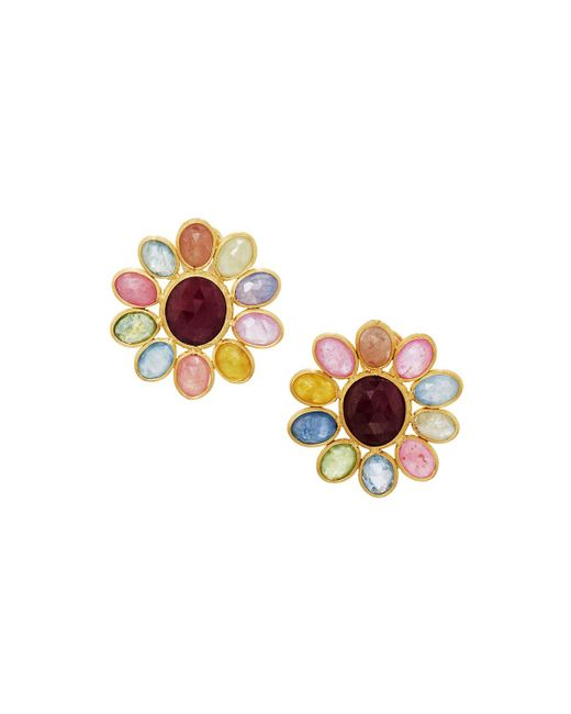 Marco Bicego | Metallic Siviglia 18k Multicolored Sapphire Flower Button Earrings | Lyst