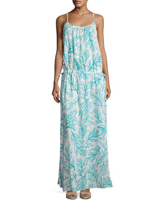 MICHAEL Michael Kors | Blue Side-tie Long Dress Swim Coverup | Lyst