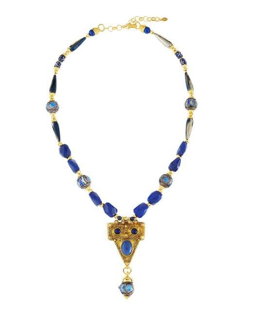 Jose & Maria Barrera   Blue Dyed Jade & Cloisonné Bead Pendant Necklace   Lyst