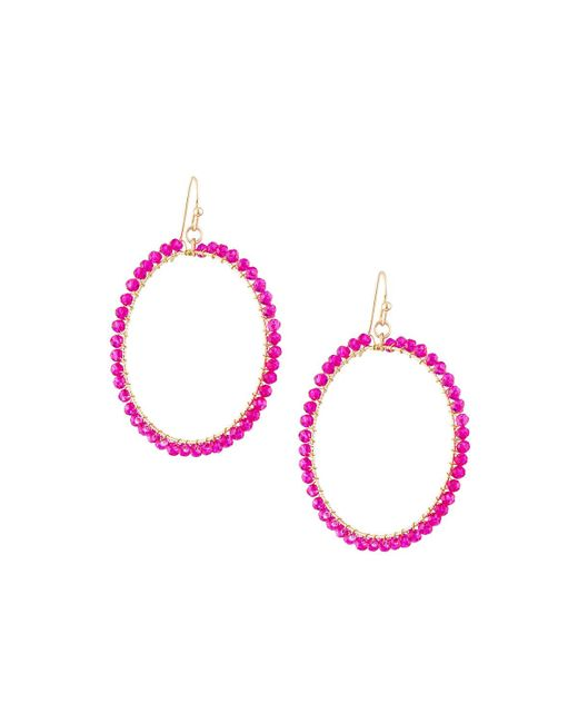 Panacea | Pink Wire-wrapped Crystal Circle Drop Earrings | Lyst