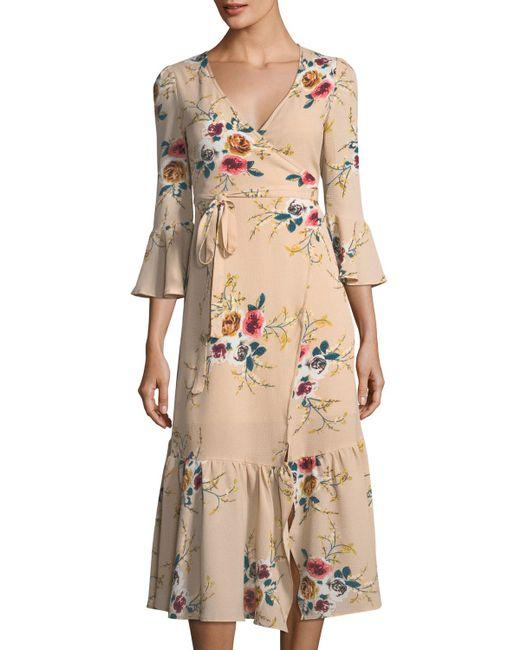 Haute Rogue | Natural Gaby Floral-print Wrap Dress | Lyst