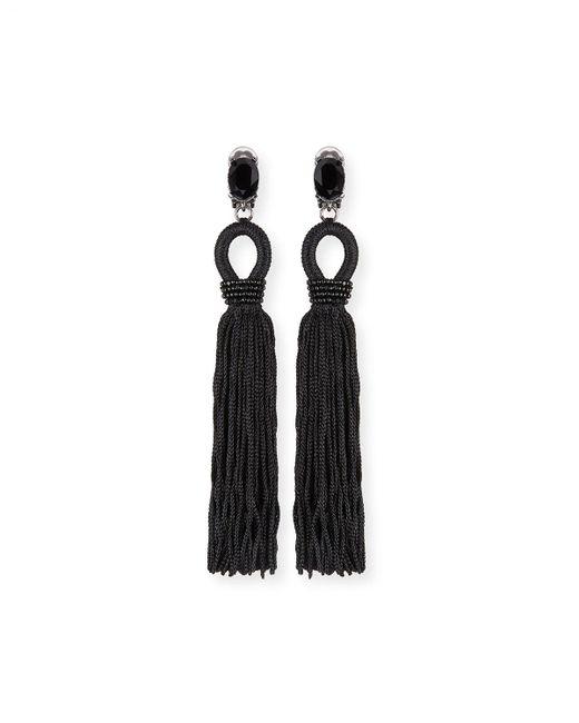 Oscar de la Renta | Black Long Crystal Loop Tassel Clip Earrings | Lyst