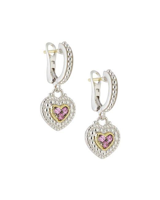 Judith Ripka | Pave Pink Sapphire Heart Drop Earrings | Lyst