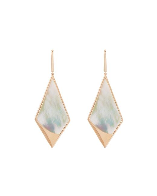 Lana Jewelry | White 14k Rose Gold Satin Kite Mother-of-pearl Drop Earrings | Lyst