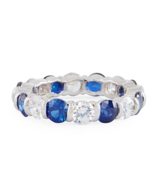 Fantasia by Deserio | Blue Slim Crystal Eternity Band Ring | Lyst