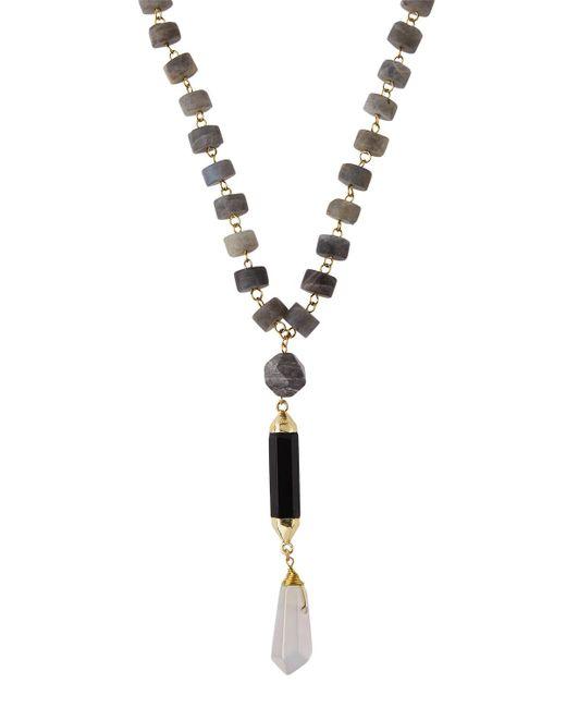 Panacea   Metallic Long Beaded Labradorite Disc Pendant Necklace   Lyst