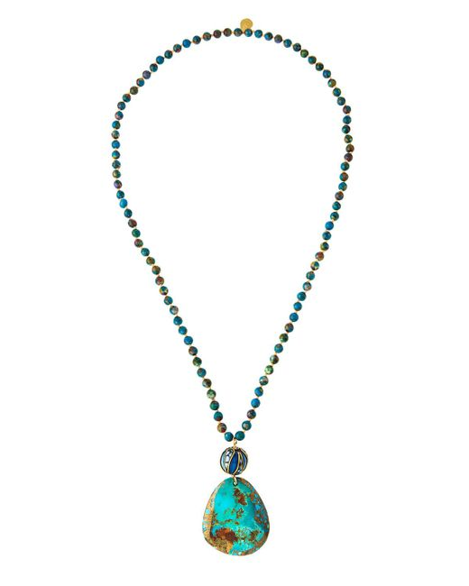 Devon Leigh | Blue Long Compressed Turquoise Beaded Pendant Necklace | Lyst