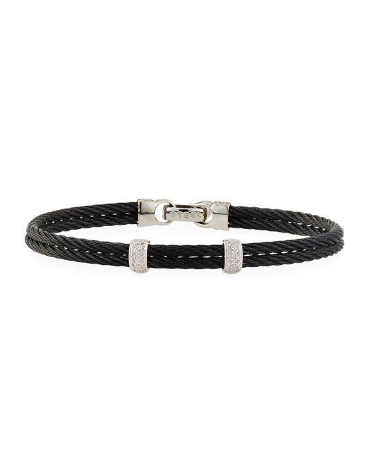 Alor   Noir Black Stainless Steel & Diamond Cable Bangle Bracelet   Lyst