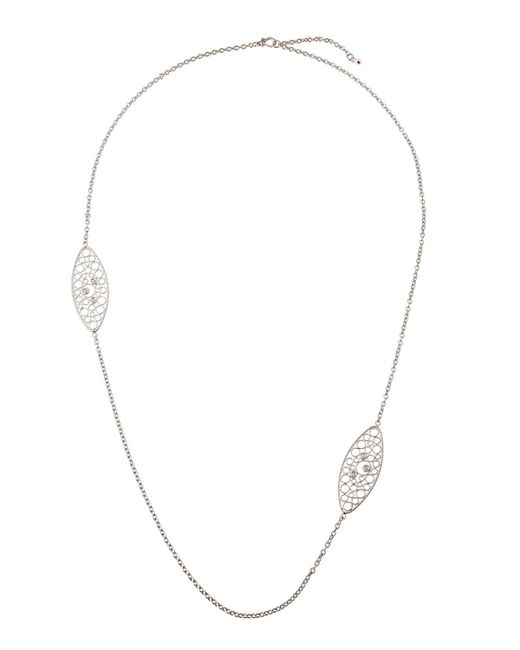 Roberto Coin | Bollicine 18k White Gold Long 2-station Necklace W/ Diamonds | Lyst