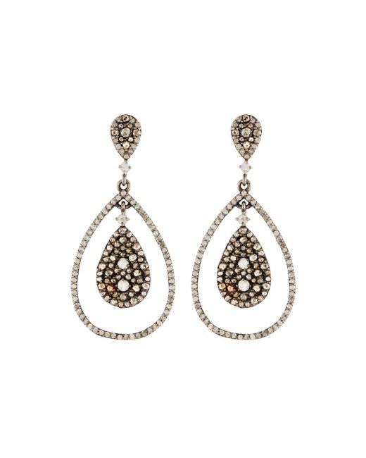 Bavna | Metallic Mixed Diamond Teardrop Earrings | Lyst