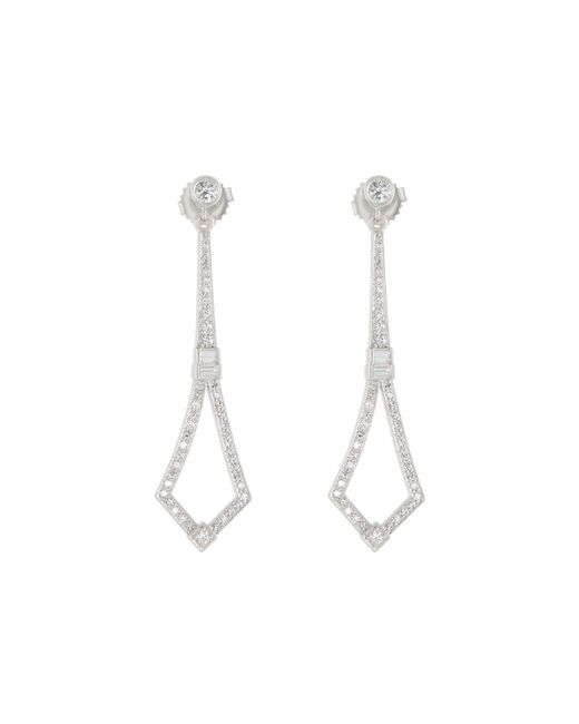 Penny Preville | 18k White Gold Art Deco Diamond Drop Earrings | Lyst