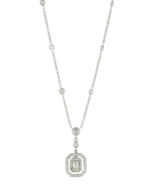Penny Preville | Green 18k Emerald-cut Floating Diamond Pendant Necklace | Lyst