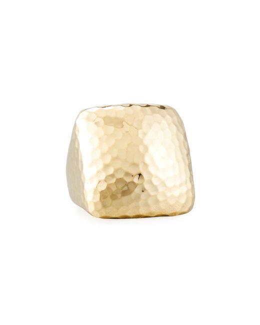 Roberto Coin   Metallic Martellato Square 18k Gold Ring   Lyst