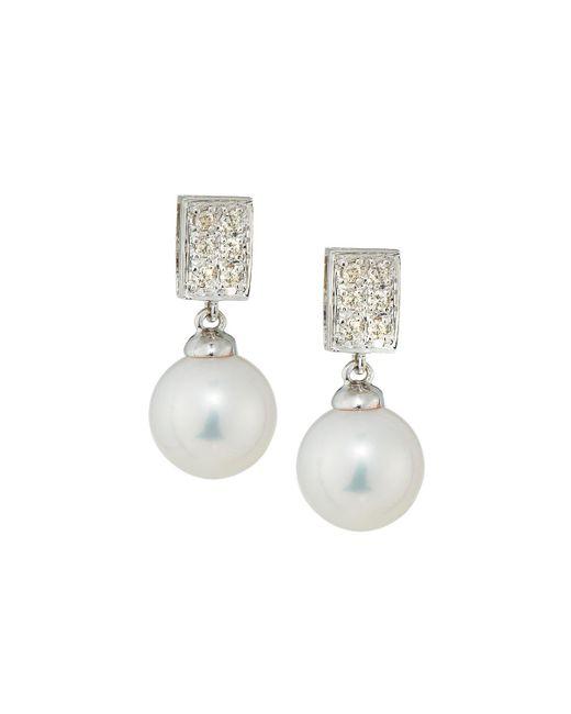Belpearl   Multicolor 14k Pearl & Diamond Rectangle Drop Earrings   Lyst