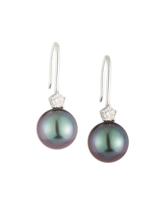 Belpearl   Multicolor 14k Tahitian Pearl & Diamond Drop Earrings   Lyst