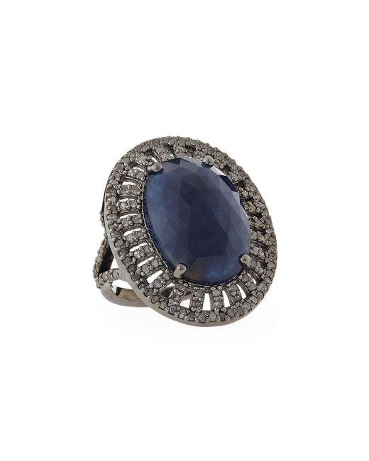 Bavna   Blue Oval Sapphire Ring W/diamond Pave   Lyst