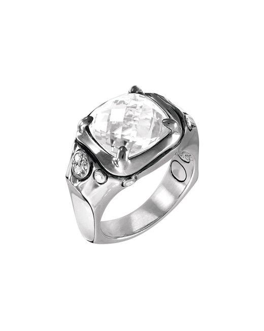 John Hardy - Metallic Batu Silver Cushion Ring W/ White Topaz Size 7 - Lyst