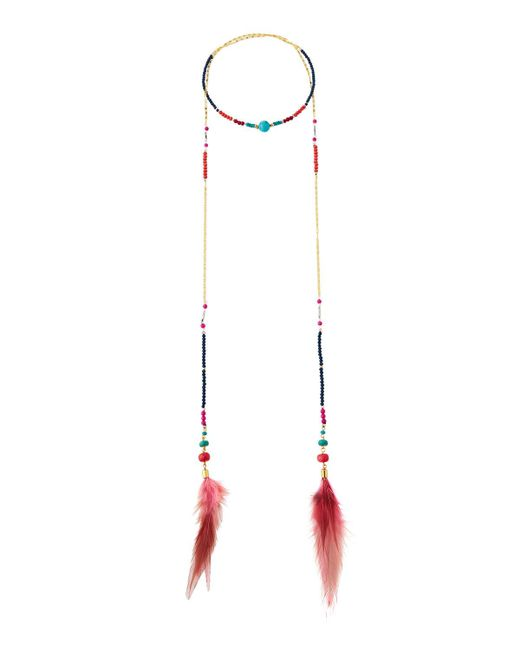 Nakamol - Pink Wrapped Lariat Feather Necklace - Lyst
