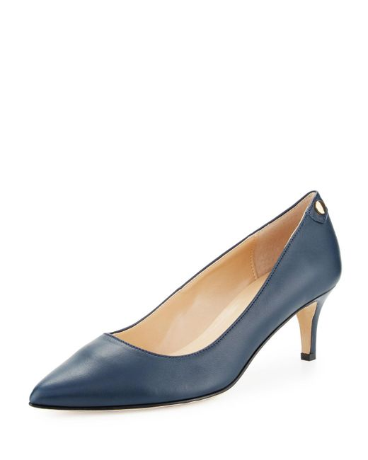 Neiman Marcus - Blue Stroll Leather Slip-on Pumps - Lyst