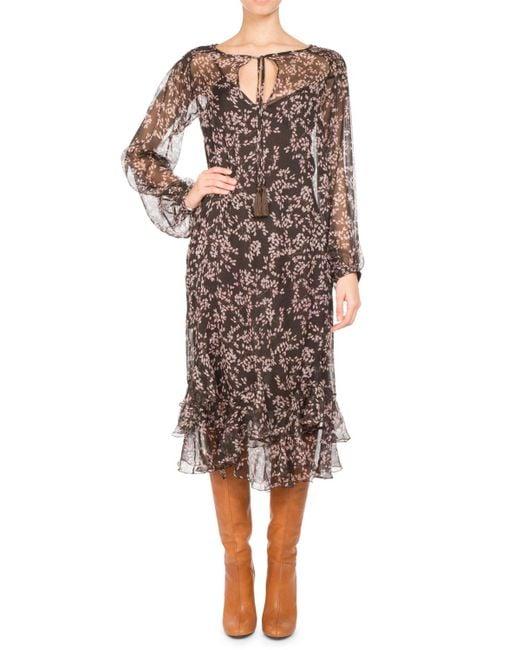 Pascal Millet - Floral-print Chiffon Long-sleeve Midi Dress Brown - Lyst