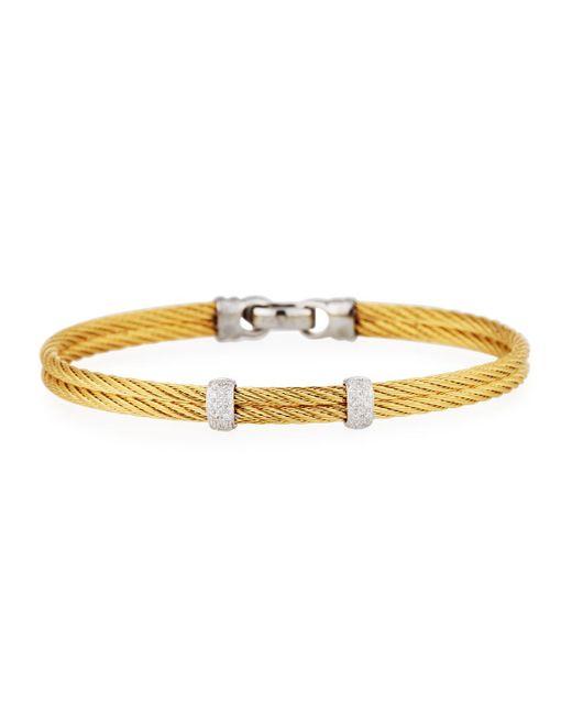 Alor - Metallic Classique Stainless Steel & Diamond Cable Two-row Bangle Bracelet - Lyst