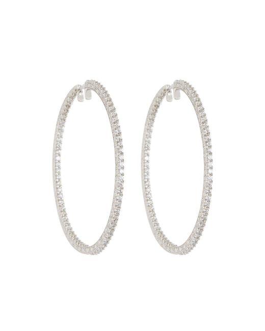 Penny Preville | 18k White Gold & Diamond Engraved Xl Hoop Earrings | Lyst