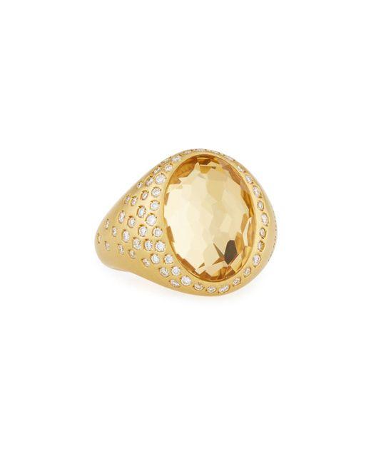Roberto Coin - Metallic 18k Yellow Gold Diamond & Oval Yellow Crystal Ring - Lyst