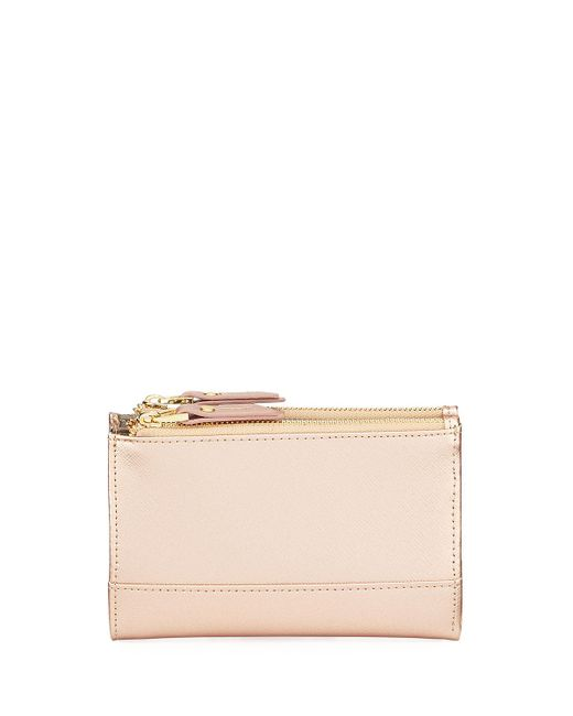 Neiman Marcus - Multicolor Saffiano Double-zip Fold-over Wallet - Lyst