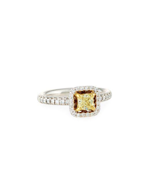 Neiman Marcus | 18k Cushion-cut Yellow & White Diamond Ring | Lyst