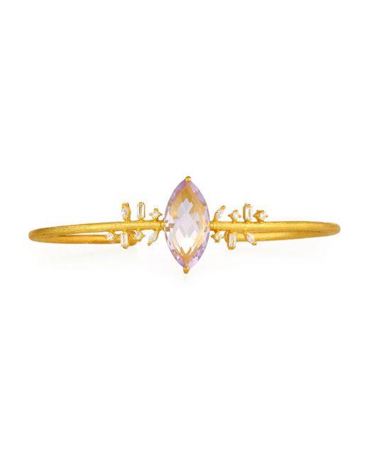 Indulgems - Pink Mixed Cz & Marquise Amethyst Bangle Bracelet - Lyst
