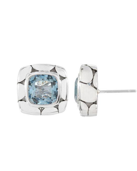 John Hardy - Gray Blue Topaz Square Stud Earrings - Lyst