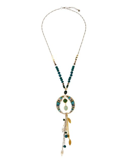 Nakamol - Green Crystal Tassel Dangle Necklace - Lyst