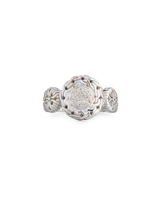 John Hardy - Metallic Small Circle Contour Ring W/ Diamond Pave Size 7 - Lyst