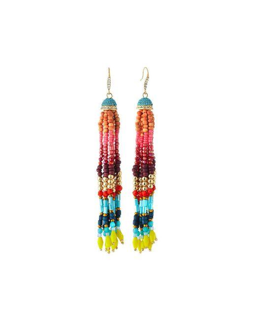 Lydell NYC | Multicolor Beaded Tassel Earrings | Lyst