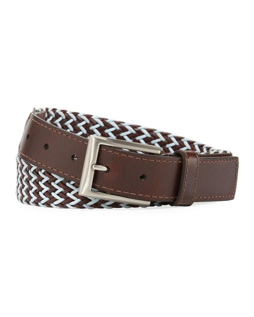 Lejon | Brown Braided Italian Leather And Cotton Belt for Men | Lyst