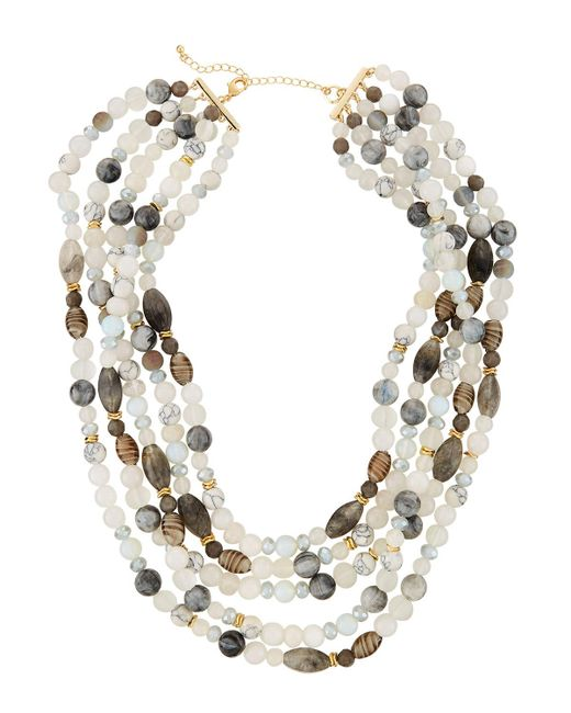 Lydell NYC - Gray Multi-row Semiprecious Necklace - Lyst