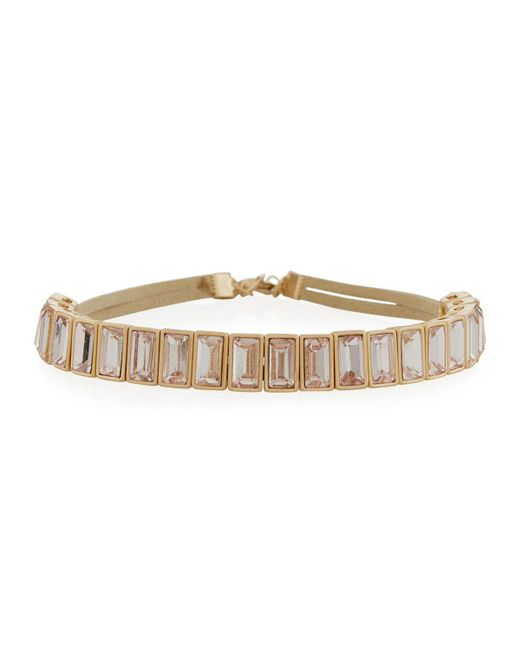 Lydell NYC | Pink Simple Rectangular Crystal Choker Necklace | Lyst