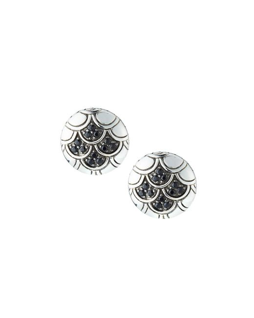 John Hardy - Naga Silver Lava Button Earrings With Black Sapphire - Lyst