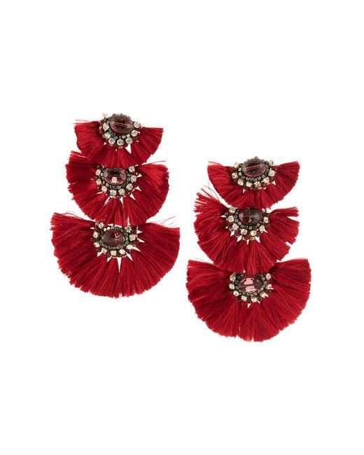 Nakamol - Red Three-tier Tassel Drop Earrings - Lyst