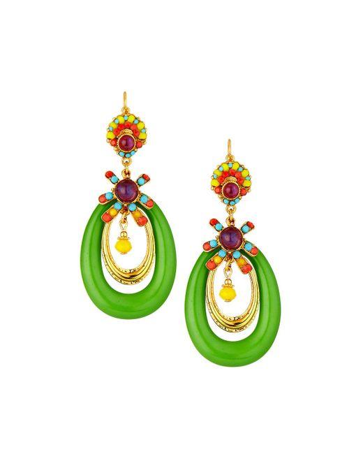 Jose & Maria Barrera - Green Lucite® Hoop Drop Earrings - Lyst