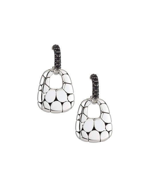 John Hardy - Metallic Kali Silver Lava Drop Earrings W/ Black Sapphires - Lyst