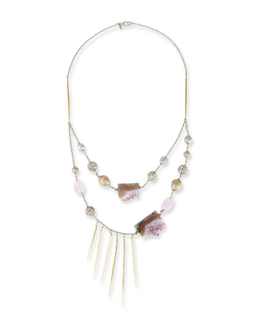 Alexis Bittar - Purple Two-strand Crystal Bib Necklace - Lyst