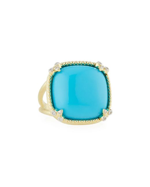 Jude Frances - Blue Turquoise Cushion Fleur Cocktail Ring W/ Diamonds - Lyst