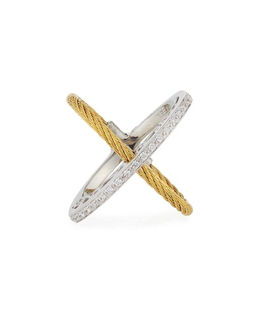 Alor - Metallic Crisscross Diamond Cable Ring - Lyst