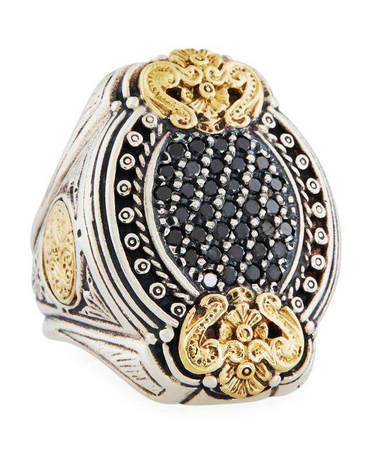 Konstantino - Metallic Asteri Ornate Oval Pave Black Diamond Ring - Lyst