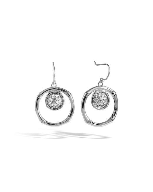 John Hardy - Metallic Bamboo Lava Silver Drop Earrings W/ White Topaz - Lyst