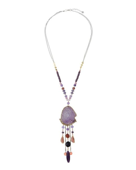 Nakamol - Purple Agate & Crystal Pendant Necklace - Lyst